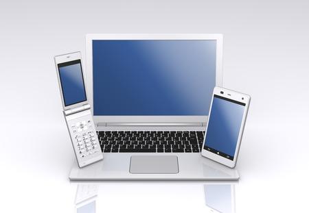 ノート パソコン、スマート フォンと機能の携帯電話