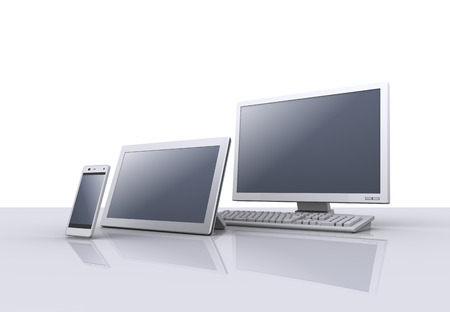 デスクトップ コンピューター、スマート フォンやタブレット pc。3 d 写真素材