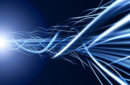 黒い背景にファイバ ・光の青いケーブル