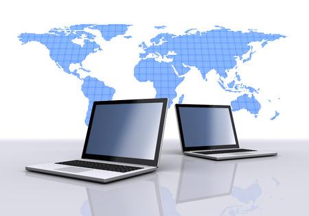 ラップトップ コンピューターと世界地図。