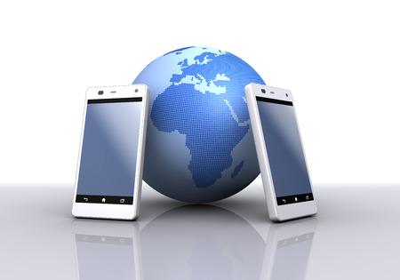スマート フォンと地球。ヨーロッパ、アフリカ