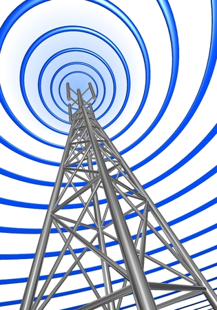 issued: The radio wave issued from a base station. Stock Photo