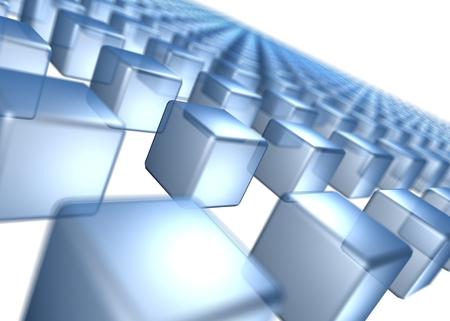 並んで立っている青い立方体。 写真素材