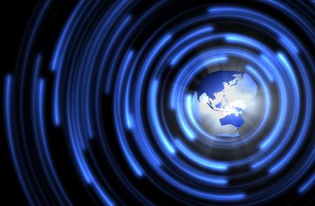 抽象的な技術サークルと地球。 写真素材