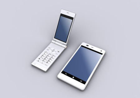 feature: Feature phone and smart phone. Stock Photo