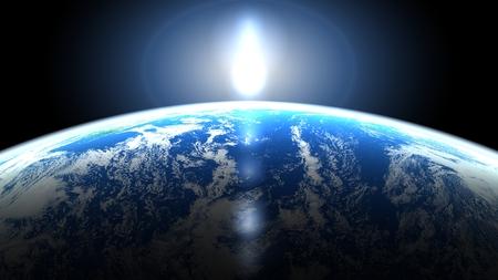地球と太陽光線の光の要素を表示します。
