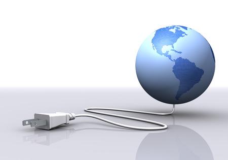 地球と電気プラグ。アメリカ合衆国、南アメリカ 写真素材