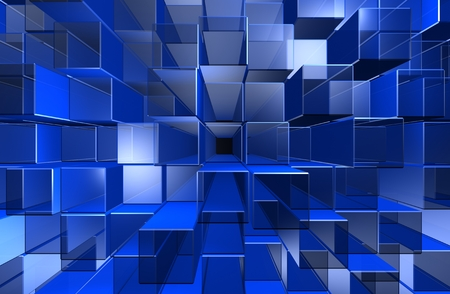 abstract cubes: The background of the blue boxes. Stock Photo