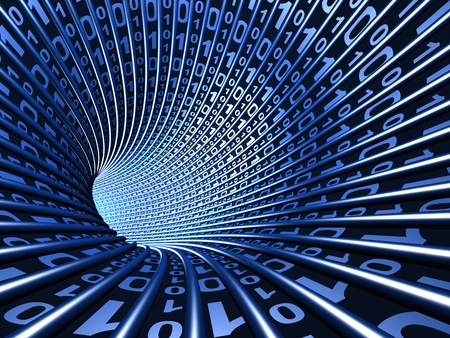 抽象デジタル トンネル 写真素材