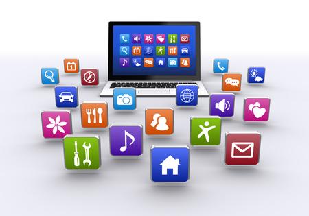 ラップトップ コンピューターとアプリケーション ボタン