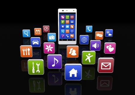 黒の背景にスマート フォン アプリケーション ボタンします。 写真素材