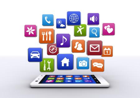 白い背景のボタンではスマート フォン ・ アプリケーション