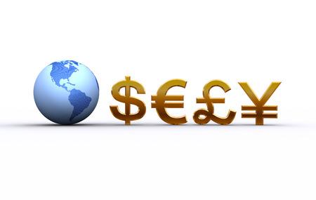 地球と通貨記号。アメリカ合衆国、南アメリカ 写真素材
