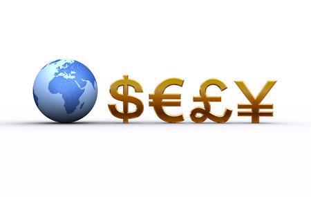 地球と通貨記号。ヨーロッパ、アフリカ