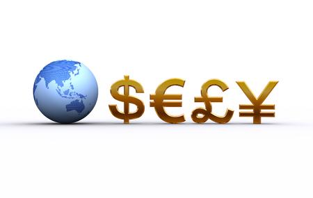 地球と通貨記号。アジア、オセアニア