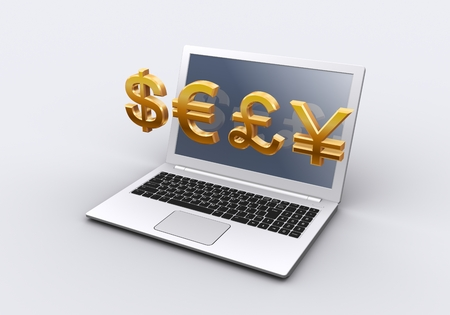 currency symbol: Laptop computer and currency symbol