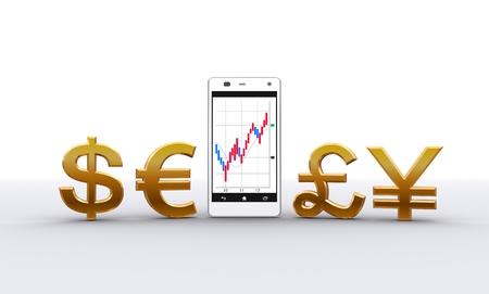 スマート電話と通貨記号 写真素材