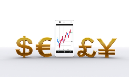Smart phone and currency symbol