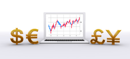foreign exchange rates: Laptop computer and currency symbol