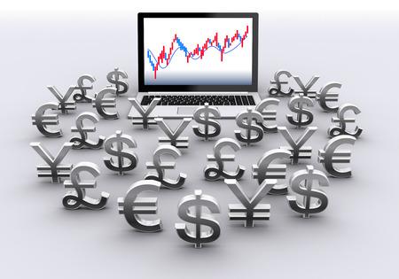 ラップトップ コンピューターと通貨記号