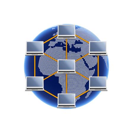 インターネットのイメージ。ヨーロッパ、アフリカ