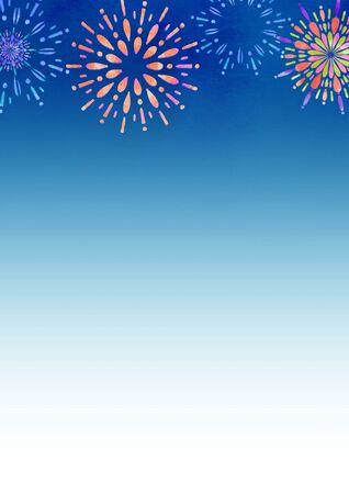 Fireworks and night sky Seasonal illustrations Summer