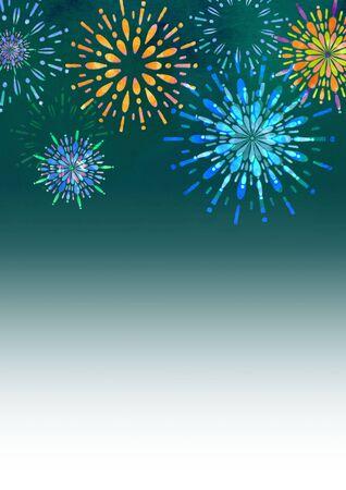 Fireworks and night sky Seasonal illustrations Summer Stockfoto