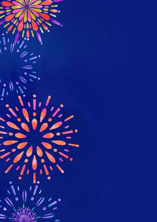 Fireworks and illustration of the night sky Summer