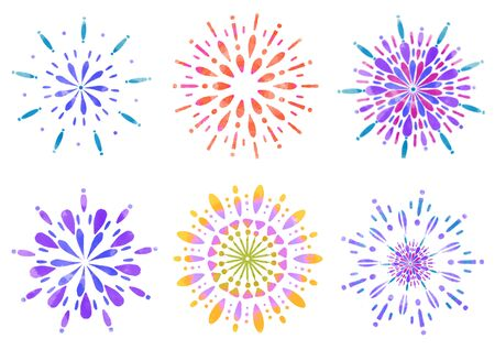 Fireworks Illustration Set Summer 写真素材