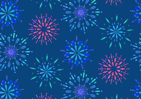 Fireworks Night Sky Summer Tradition Seamless Japanese Pattern Blue