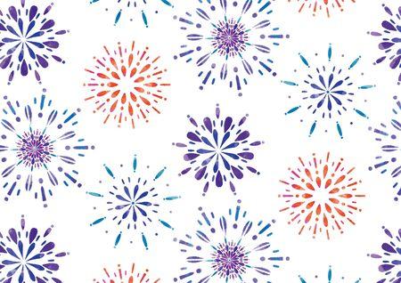 Fireworks Night Sky Summer Tradition Seamless Japanese Pattern White