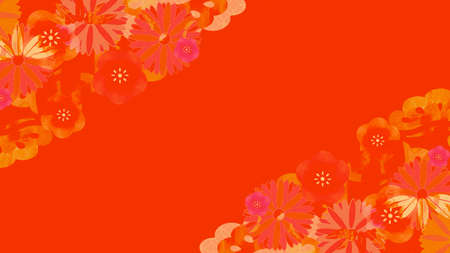 Red background illustration with plum blossoms