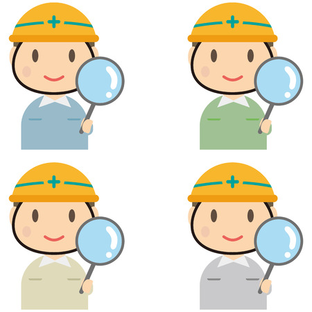 icons site search: Male workers 4 Kara--of having a uniform abcdmagnifying Illustration