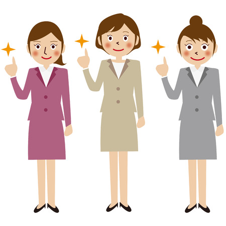 commentary: Businesswoman pointing pose three people
