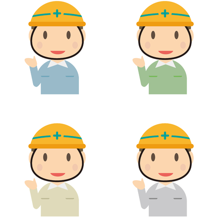 raise your hand: Male workers 4 Kara-the uniform right to raise Illustration