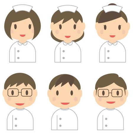 6 人の男性と女性の看護師