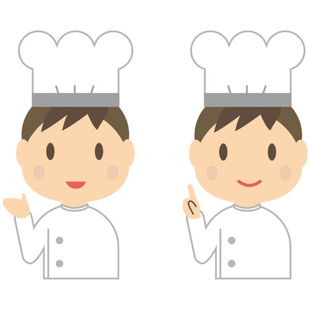 explained: Cute male chef was explained with a smile