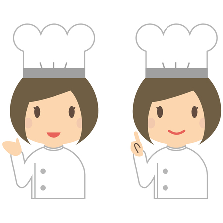 explained: Women of cute chef explained with a smile Illustration