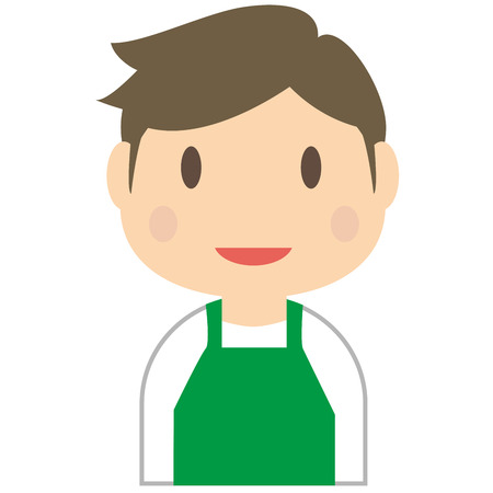Handsome man wearing a green apron
