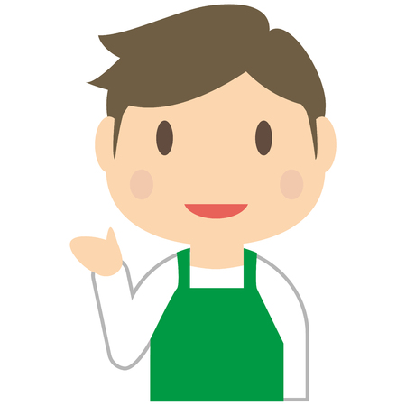 nice body: Handsome man to introduce wearing a green apron Illustration