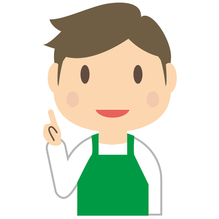advise: Handsome man is to advise wearing a green apron Illustration
