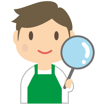 Handsome man to investigate wearing a green apron Illustration