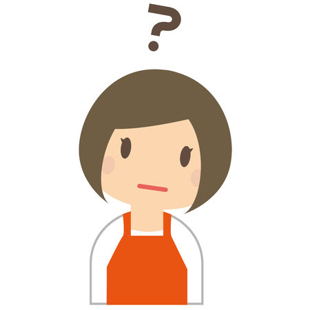 the suffering: Cute woman is suffering from wearing a orange apron