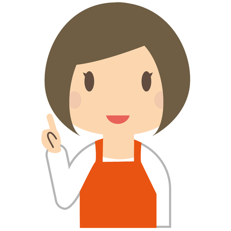 advise: Cute woman is to advise wearing a orange apron Illustration