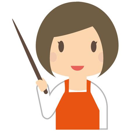 described: Cute woman is described wearing a orange apron