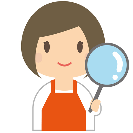 investigating: Cute woman to investigate wearing a orange apron Illustration