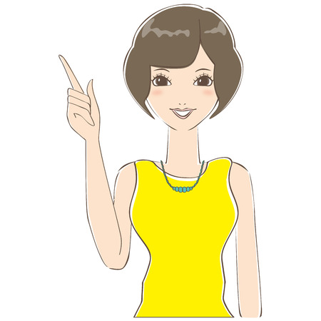 described: Bob hair of cute woman is described Illustration