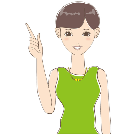 Short hair of cute woman is described Illustration