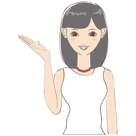introduce: Black hair of cute woman to introduce Illustration