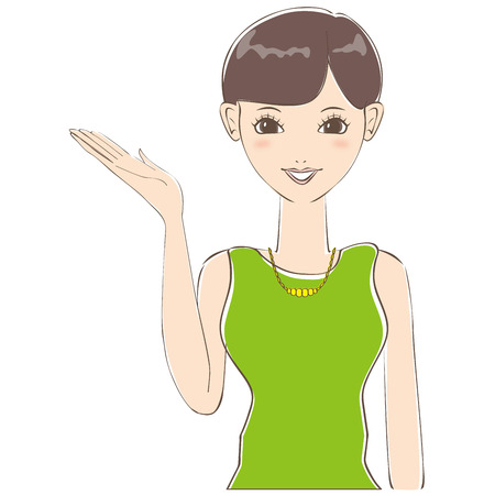 introduce: Short hair of cute woman to introduce Illustration